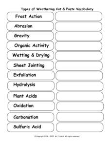 Worksheets Weathering Worksheet types of weathering vocabulary 8th 10th grade worksheet lesson worksheet
