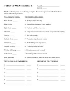 Printables Weathering Worksheet chemical and mechanical weathering worksheet abitlikethis worksheet
