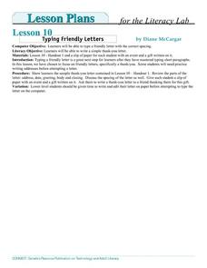 Typing Friendly Letters Lesson Plan