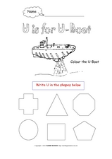 U is for U-Boat Worksheet