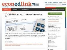 U.S. Senate Rejects Minimum Wage Bill Lesson Plan