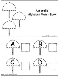Umbrella Alphabet Match Book Worksheet