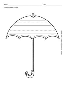Umbrella Shape With Primary Writing Lines Printables & Template