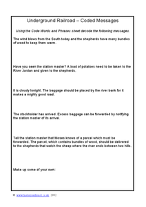 Underground Railroad-Coded Messages Worksheet