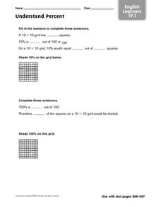 Understand Percent: English Learners Worksheet