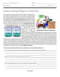 Understanding Colligative Properties 9th - 12th Grade Worksheet ...