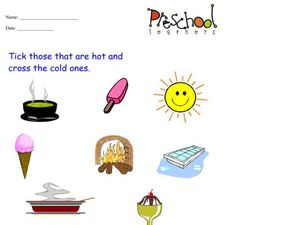 Understanding Hot and Cold Items Worksheet
