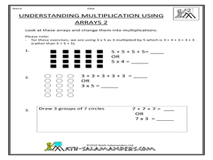math worksheet : understanding multiplication using arrays 2nd  3rd grade  : Multiplication Using Arrays Worksheet