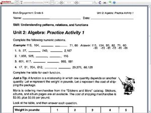 Printables Relations And Functions Worksheet understanding patterns relations and functions 5th 6th grade worksheet