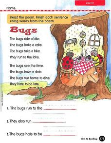 Understanding Poetry - Bugs Worksheet