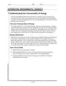 Understanding the Conservation of Energy Worksheet