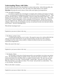 Worksheets Worksheet On Theme understanding theme with fables 7th 12th grade worksheet fables