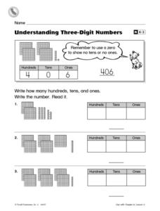 Understanding Three-Digit Numbers Worksheet