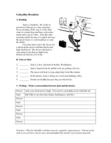 Unhealthy Breakfast Worksheet