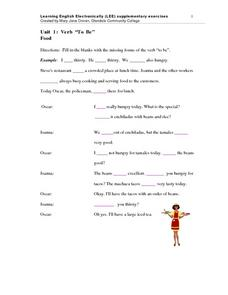 "Unit 1: Verb ""To Be"" Food Worksheet"