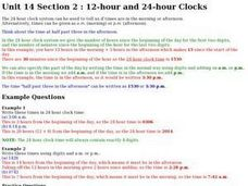 Unit 14 Section 2:  12-Hour and 24-Hour Clocks Worksheet