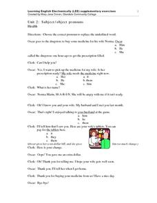 Unit 2: Subject/Object Pronouns Health Worksheet