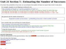 Unit 21 Section 5: Estimating the Number of Successes Worksheet