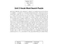 Unit 3 Vocab Word Search Worksheet