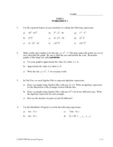 Unit 3, Worksheet 1, Exponents and Algebraic Expressions Worksheet