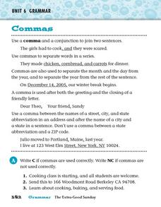 Unit 6 Grammar - Commas Worksheet