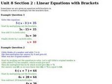 Unit 8 Section 2: Linear Equations with Brackets Worksheet