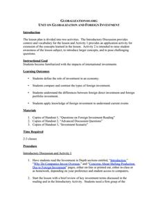 Unit on Globalization and Foreign Investment Lesson Plan