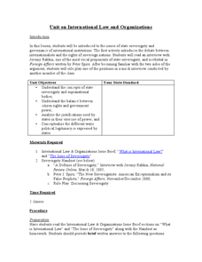 Unit on International Law and Organizations Lesson Plan