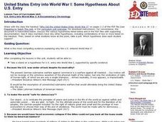 United States Entry into World War I: Some Hypotheses About U.S. Entry Lesson Plan