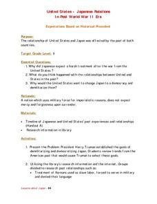 United States - Japanese Relations In Post World War II Era Lesson Plan