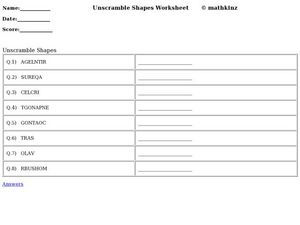 Unscramble Shape Words Worksheet
