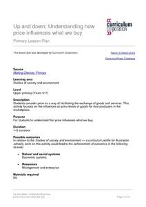 Up and Down: Understanding How Price Influences What We Buy Lesson Plan