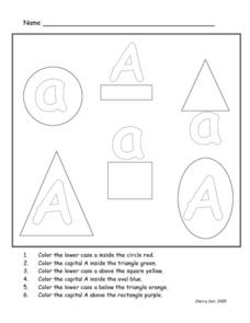 Upper And Lower Case Letter a Worksheet
