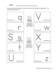 Upper Case and Lower Case Letters Worksheet