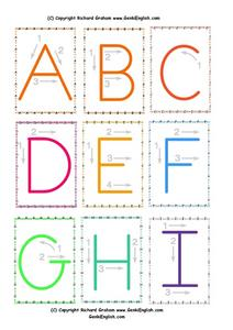 Upper Case Letters A Through I Worksheet