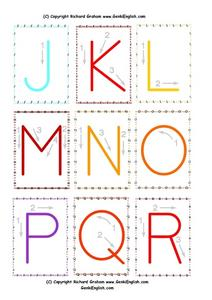 Upper Case Letters J Through R Worksheet