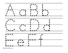 Uppercase and Lowercase Alphabet A-F Worksheet