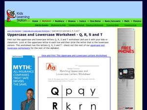 Uppercase and Lowercase Worksheet-- Q, R, S and T Worksheet