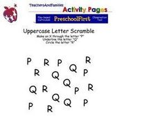 Uppercase Letter Scramble - P, Q, R Worksheet
