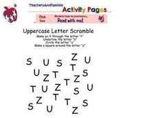 Uppercase Letter Scramble Worksheet