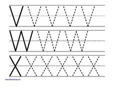 Uppercase V, W, and X Worksheet