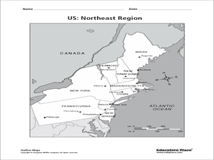 US: Northeast Region Map Worksheet