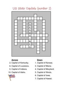 US State Capitals (number 2) Worksheet