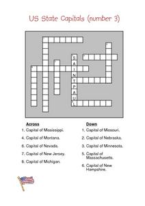 US State Capitals (number 3) Crossword Puzzle Worksheet