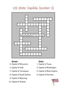 US State Capitals (number 5) Worksheet