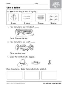 Use a Table: English Learners Worksheet
