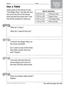 Use a Table problem solving 16.8 Worksheet