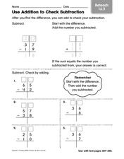 Use Addition to Check Subtraction - Reteaching Worksheet