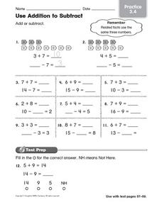 Use Addition to Subtract: Practice 3.4 Worksheet
