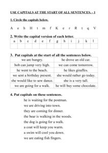 Use Capitals at the Start of All Sentences 1 and 2 Worksheet